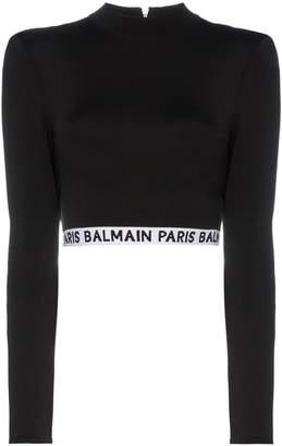 Balmain high neck logo crop top
