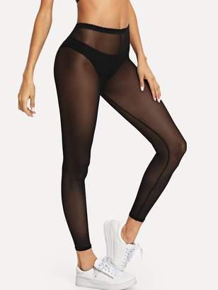 SheinShein Net Yarn Solid Leggings