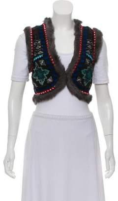 Christophe Sauvat Embroidered Fur-Trimmed Vest
