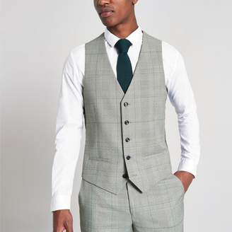 River Island Mens Grey check suit waistcoat