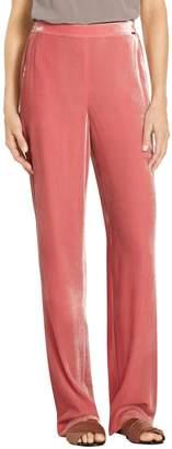 St. John Sport Rayon Silk Velvet Wide Leg Pull-On Pant