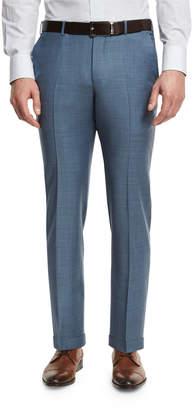 Ermenegildo Zegna Sharkskin Wool Flat-Front Trousers, Light Blue