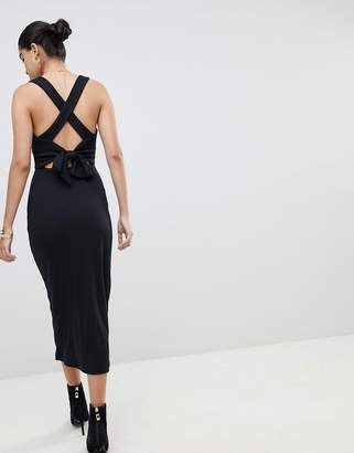 Fashion Union Ribbed Midi Dress With Tie Back Detail