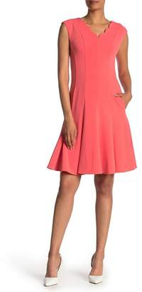 Maggy London Scallop Neck Fit & Flare Dress