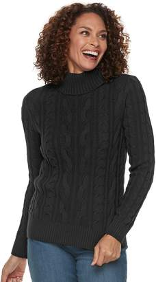 Croft & Barrow Women's Cable-Knit Turtleneck Sweater