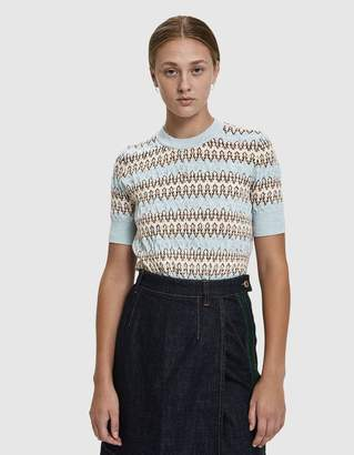 Carven Jacquard Short Sleeve Sweater