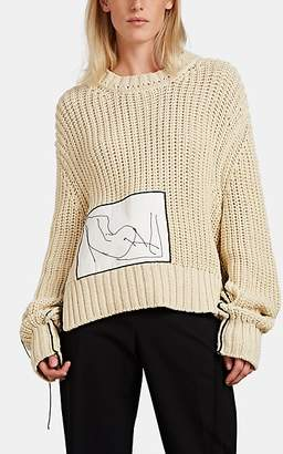 Jil Sander Women's Patch-Appliquéd Rib-Knit sweater - Beige, Tan