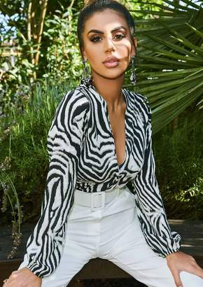 Missy Empire Missyempire Tisha Zebra Print Plunge Wrap Bodysuit