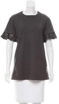Lela Rose Silk-Trimmed Wool Top