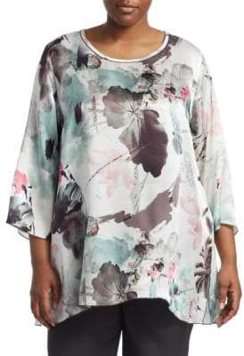 Caroline Rose Plus Silk Charmeuse Party Top