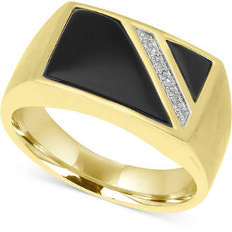 Macy's Men's Onyx & Diamond Accent Ring in 10k Gold