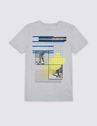 Marks and Spencer Pure Cotton Printed T-Shirt (3-16 Years)