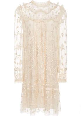 Needle & Thread Esme Embroidered Tulle Mini Dress