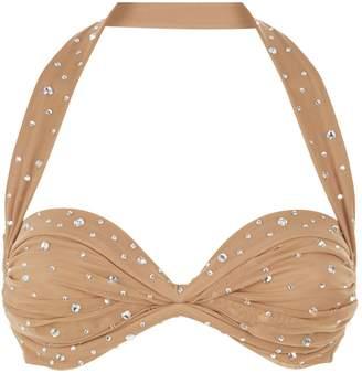 Norma Kamali Halterneck Rhinestone Bikini Top