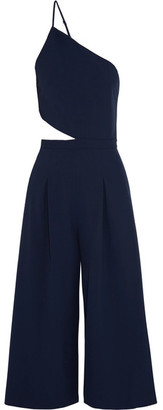 Michelle Mason - One-shoulder Cutout Stretch-crepe Jumpsuit - Blue $655 thestylecure.com