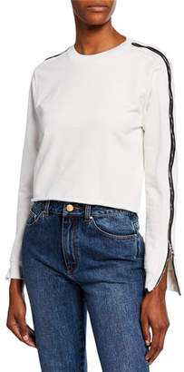 RtA November Side-Zip Cropped Raw-Edge Sweater