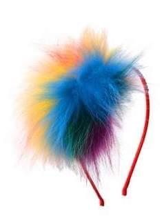 Bari Lynn Girl's Rainbow Fox Fur Headband