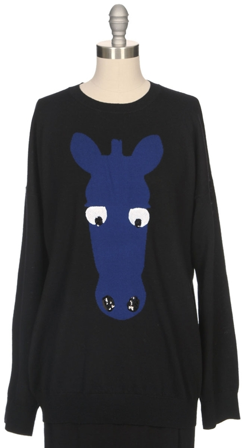 Markus Lupfer Zebra Head Sequin Intarsia Sweater