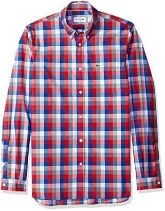 Lacoste Men's Long Sleeve Poplin Check Button Down Collar Reg Fit Woven Shirt