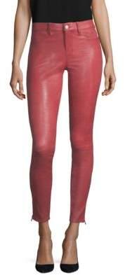 J Brand Mid-Rise Leather Skinny Pants