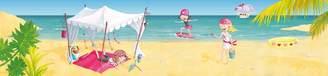 Mural Wandpiraten 200 X 46.5cm Pink Pirates On The Beach Wallpaper for Kids