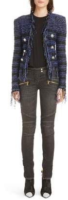 Balmain Fringe Metallic Tweed Jacket