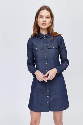 67b6b64a9c0 Next Womens Warehouse Blue Utility Mini Denim Shirt Dress