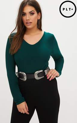 PrettyLittleThing Plus Emerald Green Long Sleeve Slinky Bodysuit