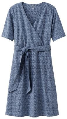 L.L. Bean L.L.Bean Women's Cotton/Tencel Dress, Elbow-Sleeve Print