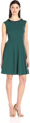 Sandra Darren Women's 1 Pc Extended Solid Crepe Fit and Flare Necklace Dress
