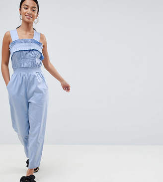 Asos DESIGN Petite Ruched Waist Jumpsuit With Top Stitch Detail