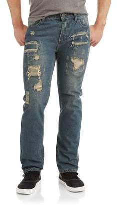 SWISS CROSS Men's Slim Straight Rip and Repair Jeans