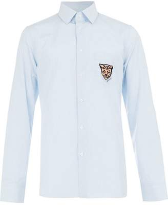 Gucci leopard crest striped shirt