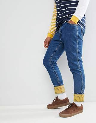 Wrangler Blue & Yellow Slim Tapered Jeans