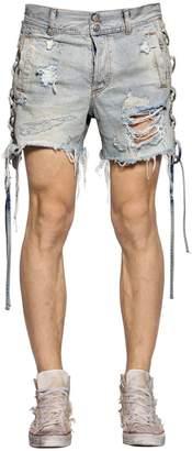 Faith Connexion Lace-Up Destroyed Cotton Denim Shorts