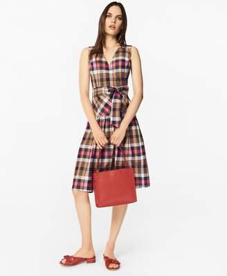 Brooks Brothers Madras Cotton Faux Wrap Dress