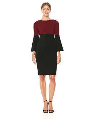 Calvin Klein Women's Color Blocked Bell Sleeve Dress