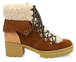 See by Chloe Women's Eileen Lace-Up Shearling-Lined Ankle Boots
