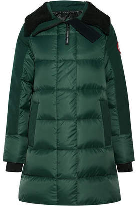 Altona Shearling And Leather-trimmed Quilted Shell Parka - Forest green