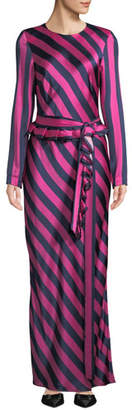 E.m. Maggie Marilyn Get Girl Striped Silk Long-Sleeve Dress