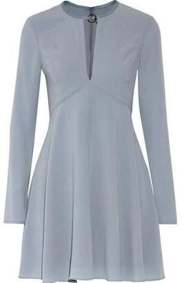 Halston Leather-Trimmed Pleated Crepe Mini Dress