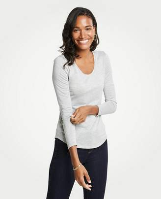 Ann Taylor Petite Shimmer Scoop Neck Long Sleeve Tee
