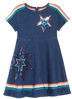 Boden Mini Embellished Denim Skater Dress