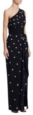 Oscar de la Renta One-Shoulder Sequin Polka Dot Embellished Slit Column Gown