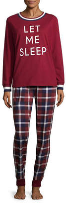 Asstd National Brand Peace Love & Dreams Womens Pant Pajama Set 2-pc. Long Sleeve