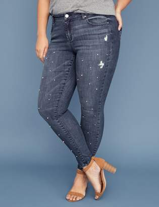Lane Bryant Super Stretch Skinny Jean - Faux Pearl & Star Studded