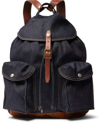 eaac711c3e76 RRL Riley Leather And Suede-Trimmed Denim Backpack