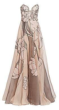 Pamella Roland Women's Silk Organza Beaded Floral Strapless Gown