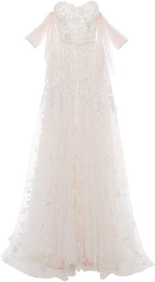Mira Zwillinger M'O Exclusive Sky Strapless Floral-Appliquéd Tulle Gown