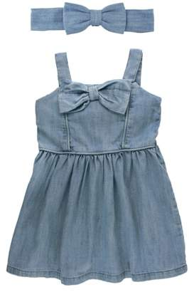RuffleButts Cotton Chambray Dress & Head Wrap Set